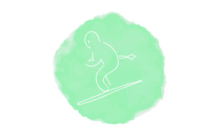 Handwritten simple icon illustration: skier