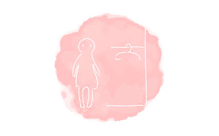 Handwritten simple icon illustration: Women's changing room Çizim