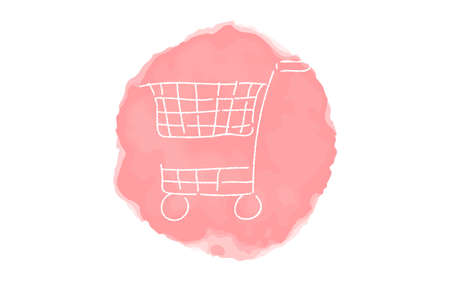Handwritten simple icon illustration: Shopping cart Çizim