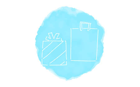 Handwritten simple icon illustration: present box Çizim