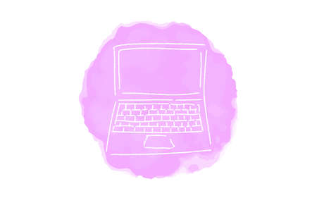 Handwritten simple icon illustration: laptop