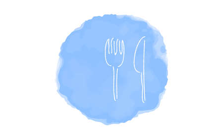 Handwritten simple icon illustration: fork and knife