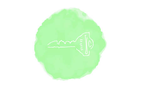 Handwritten simple icon illustration:  key Çizim