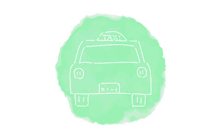 Handwritten simple icon illustration: taxi