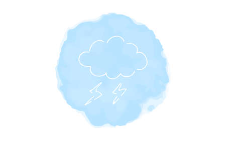 Handwritten simple icon illustration: thundercloud Çizim