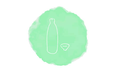 Handwritten simple icon illustration: Sake
