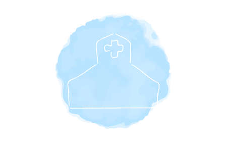 Handwritten simple icon illustration: Hospital
