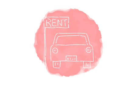 Handwritten simple icon illustration:  Car Rental
