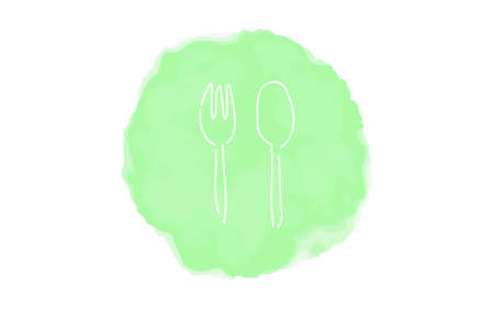Handwritten simple icon illustration: fork and spoon Çizim