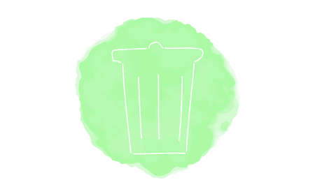 Handwritten simple icon illustration: Trash Bako