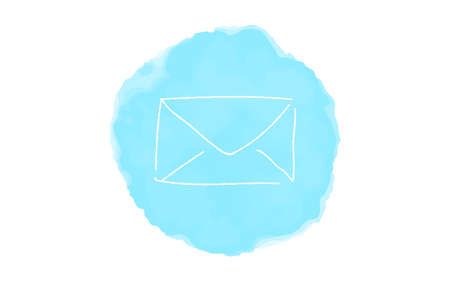 Handwritten simple icon illustration:  mail Çizim