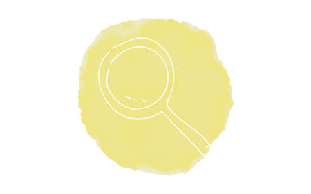 Handwritten simple icon illustration: magnifying glass