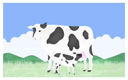 Illustration of a calf sucking milk from a mother on a summer pasture