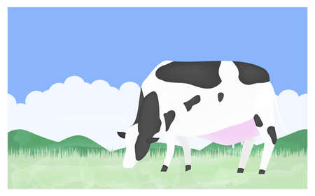 Illustration of a cow eating grass on a summer ranch Çizim