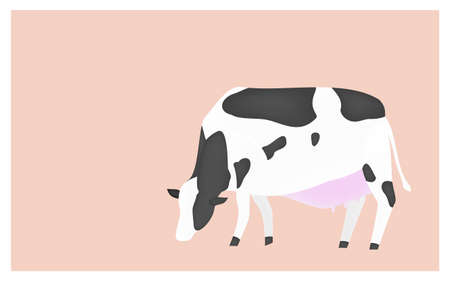 Illustration of a cow eating grass on a pink background