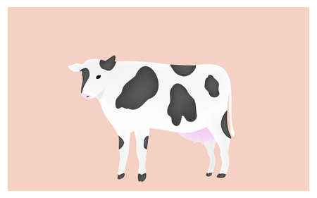 Illustration of a cow standing upright pink background Çizim