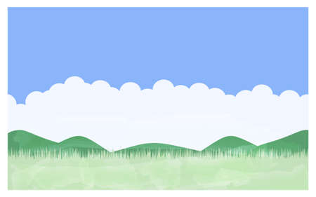 Illustration of summer meadow Blue sky, Irudo cloud, mountains and fields
