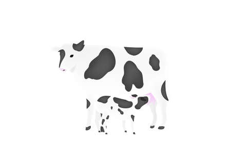 Illustration of a calf sucking milk from a mother Transparent background