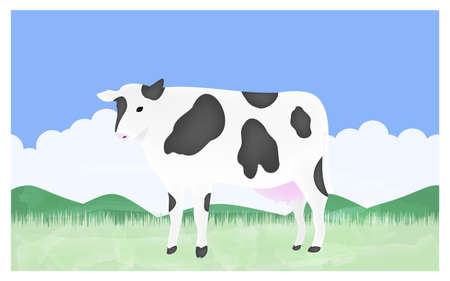 Illustration of a cow standing upright on a summer ranch