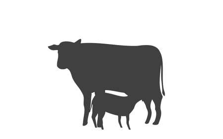 Silhouette illustration of a calf sucking breast milk Çizim