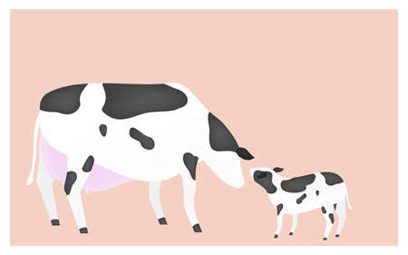 Illustration of mother calf and calf greeting pink background