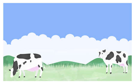 Illustration of cows grazing on a summer ranch