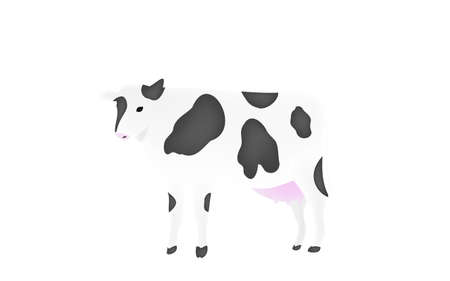 Illustration of a cow standing upright Transparent background