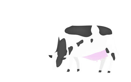 Illustration of a cow eating grass Transparent background