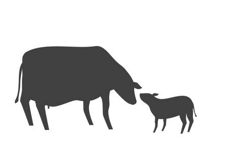 Silhouette illustration of mother cow and calf greeting