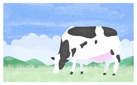 Illustration of a cow eating grass on a summer ranch Stok Fotoğraf