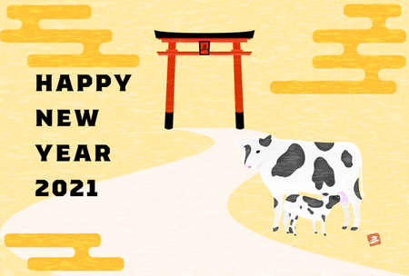 New Year's card postcard template Illustration of Holstein in the ranch, oxen year 2021