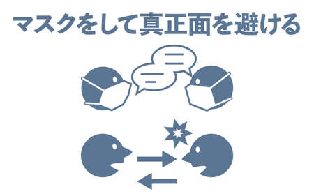 Icon illustration showing points to note when talking -Translation: Mask and avoid the front