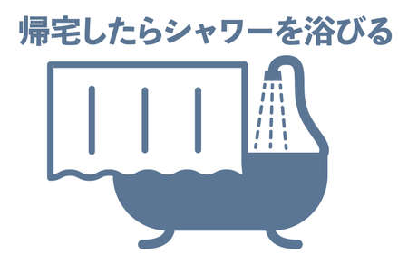 Simple icon illustration of changing clothes-Translation: Change clothes when you go home -Translation: Take a shower when you get home Ilustracja