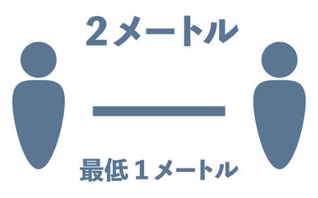 Simple icon illustration of social distance -Translation: 2 meters, minimum 1 meter
