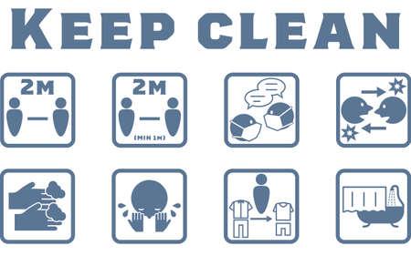 Icon illustration showing hygiene management after returning home