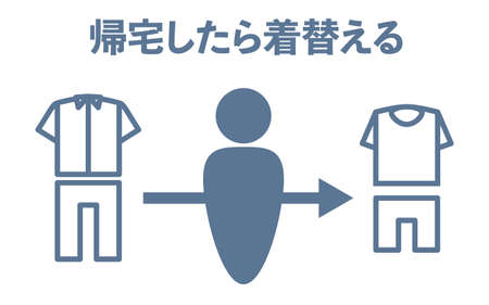 Simple icon illustration of changing clothes -Translation: Change clothes when you go home