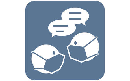 Icon illustration to wear a mask during conversation