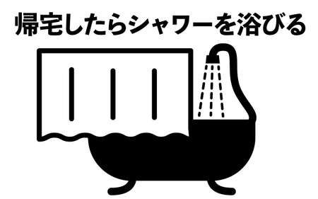 Simple icon illustration to take a shower -Translation: Take a shower when you get home