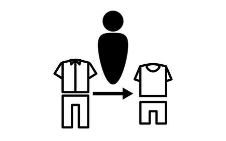 Simple icon illustration of changing clothes