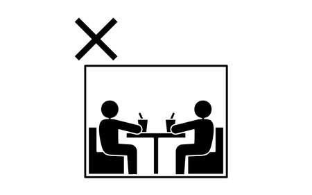 Icon illustration deprecating closed rooms Illustration