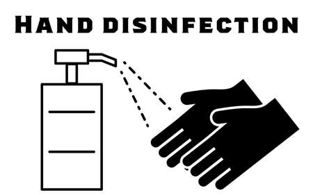 Illustration of spray hand disinfection
