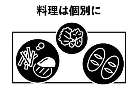 Icon to recommend individual meals -Translation: Cooking individually Illusztráció