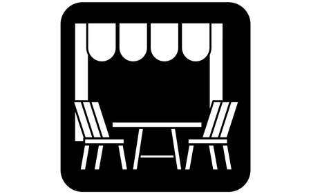 Icon that recommends to use outside seats when eating out
