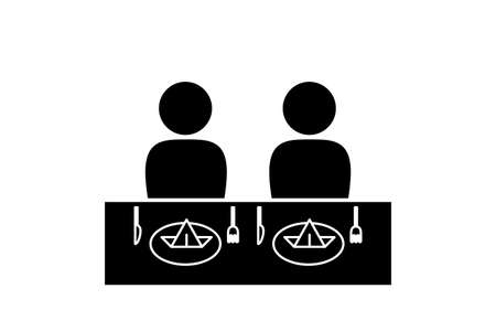 Icon that recommends side-by-side meals Ilustração
