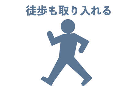 Icon that recommends walking to work - Translation: Including walking