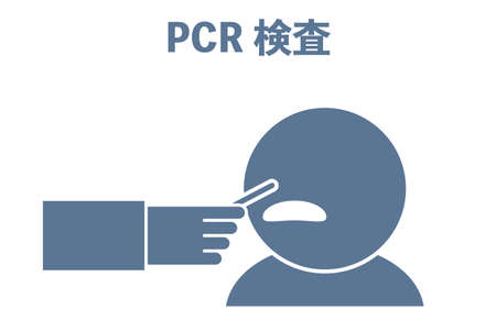 Illustration of collecting mucous membrane of nose by PCR test -Translation: PCR inspection Çizim