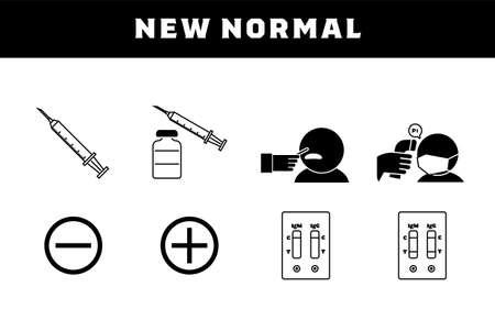 Set illustrations for vaccination, PCR test, antibody test, etc. Çizim