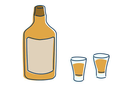 Image illustration of two people drinking whiskey in a shot glass