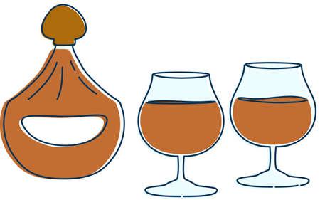 Image illustration of two people drinking brandy Ilustração