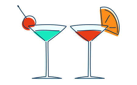 Image illustration of two people drinking a cocktail